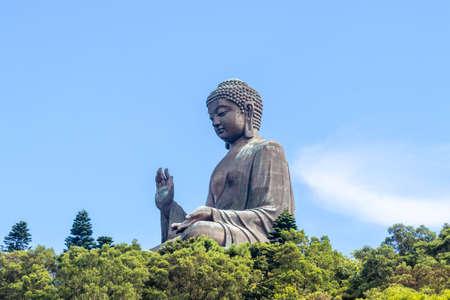 Hong Kong big Buddha on Lantau Island with cable car access Фото со стока