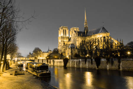 Notre Dame de Paris in night time, France