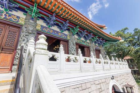 Po Lin Monastery and Big Buddha from Hong Kong Фото со стока