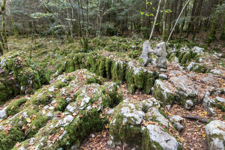 The karstic trail of Malrochers from Jura in France