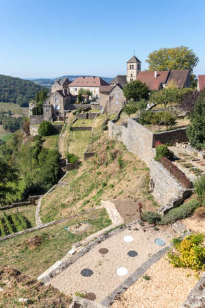 The historic village of Chateau Chalon, castle from Jura, France