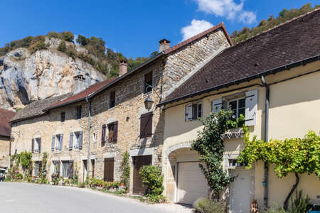 Baume Les Messieurs village, Valley, canyon from Jura, France 新闻类图片