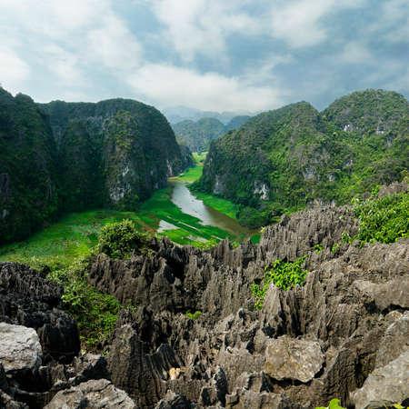 ニンビンの川の眺め 写真素材