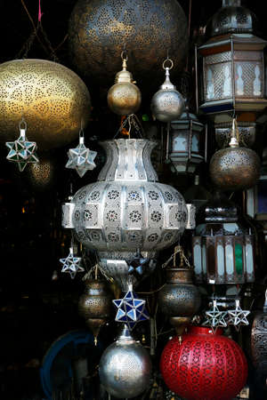 Moroccan lamp in metal chased