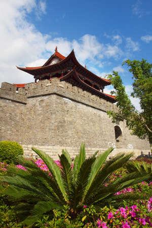 Wall, fortification of the old city of Dali, Yunnan, China