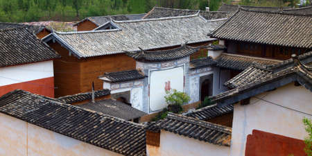 View of traditional roof tiles of chinese buildings