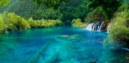 Colorful Lake in Jiuzhaigou National Park, Sichuan, China Imagens