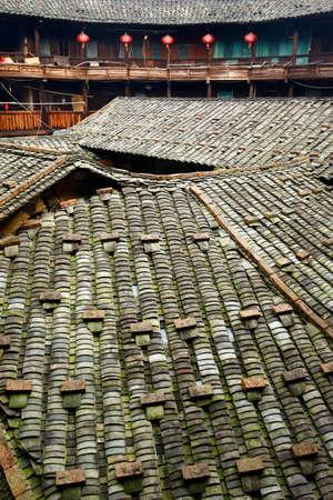 Tulou, traditional fortified circular cluster in tchu xi, fujian, china