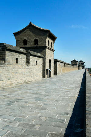 Wall, fortification of the old city of Pingyao, Shanxi, China