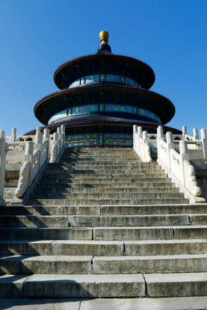 View of the dome and the stairs of the temple of heaven in Beijing, China