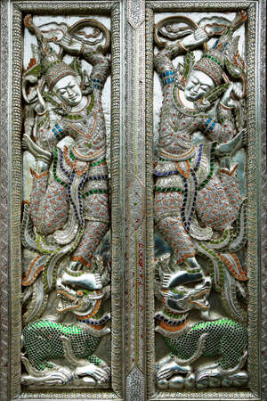 door of buddhist temple, hammered, chased