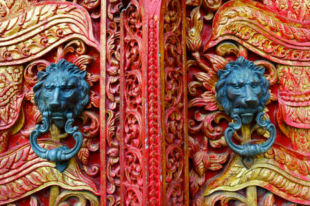 door handle with lion design on temple buddhist