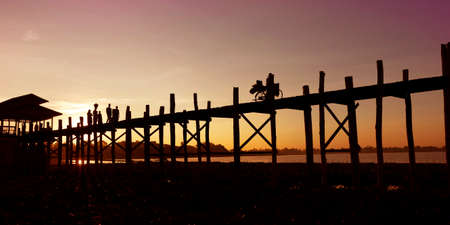 sunset on U bath bridge at Mandalay, Myanmar