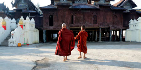 Novice Monks in Shwe Yan Pyay Monastery, Inle Lake, Myanmar