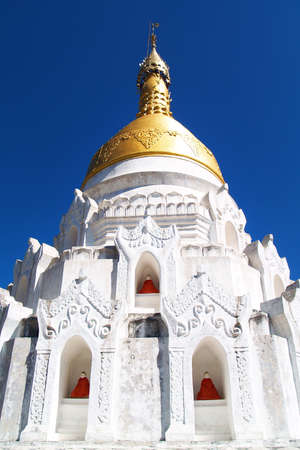 detail of statue of buddha, buddhist temple in Myanmar