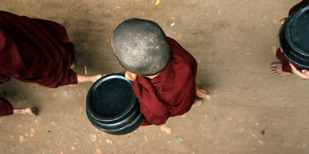 Novice Monks Received in the Historical Park of Bagan, Myanmar