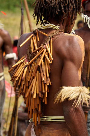 dani people during tribe festival in wamena-baliem valley-papuasia-indonesia 写真素材