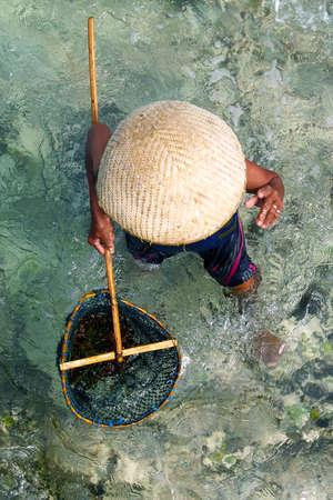 agriculteur récoltant la mer dans la mer avec épuisette