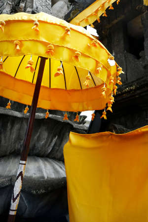 detail of umbrella in Hindu temple in bali -indonesia