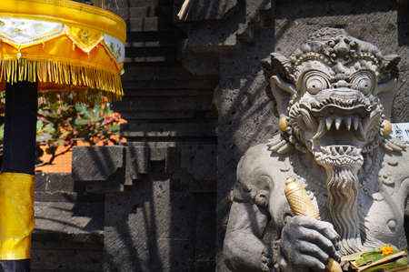 Stone carved statue of Barong in Hindu temple in Bali-Indonesia