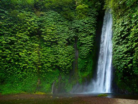 Cascada de munduk en medio de la selva tropical en bali-indonesia Foto de archivo