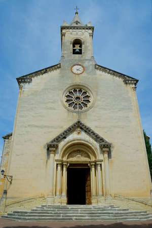facade of mediterranean church in the south of france