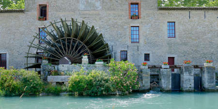 wheel of water mill in the south of france
