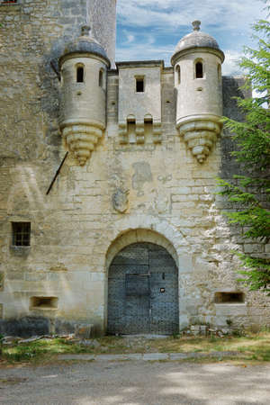 facade of mediterranean castle with stone wall 스톡 콘텐츠