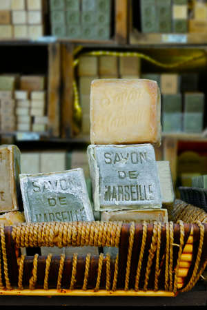 traditional french Marseille's soap-with text Marseille's soap Stock Photo