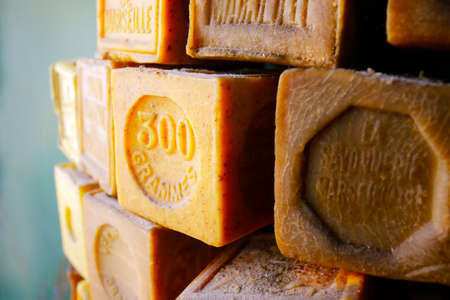 traditional french Marseille's soap with text Marseille's soap, 300 gram Stock Photo