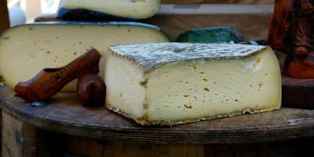 tomme of ewes sold in market in provence, france