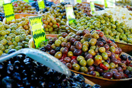 assortment of olive sold in the south of france Stockfoto