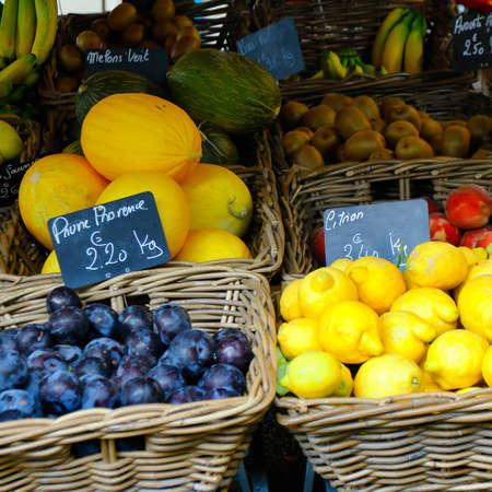 France, with text lemon, green-yellow melon, plum provence, kiwi