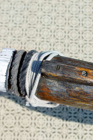 detail of boom of traditional Mediterranean fishermens boat in the south of france