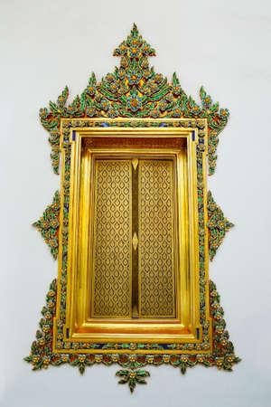 window in buddhist temple, thailand