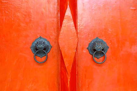door handle with lion design in buddhist temple