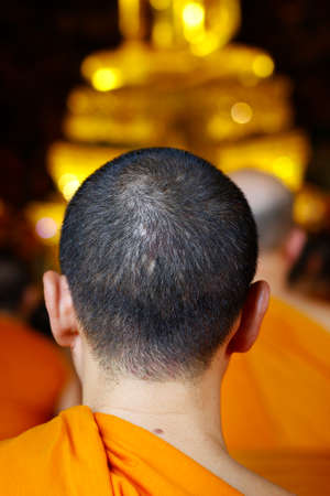 head of monk praying in buddhist temple