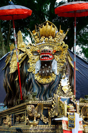 Wooden carved statue of Barong in Hindu temple in Bali-Indonesia
