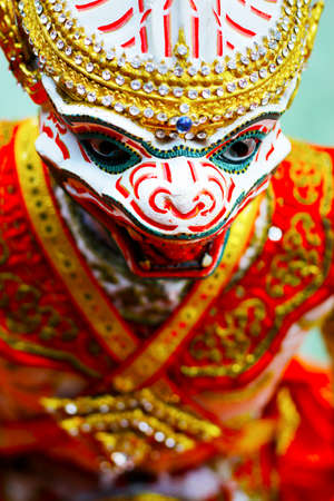 head of hanuman doll during traditional performance in buddhist temple -Thailand
