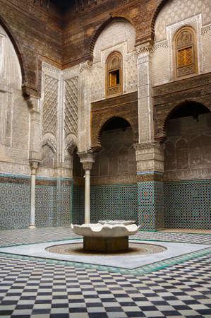 The courtyard of Al-Attarine Madrasa in the medina of Fes-Morocco Stok Fotoğraf