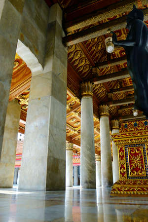 view of column inside buddhist temple in thailand Editorial