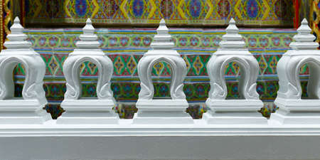 close up of detail in the buddhist temple rachabopit in the city of bangkok -thailand