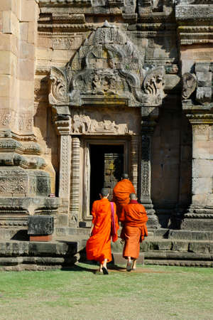 Monks coming in buddhist temple in thailand