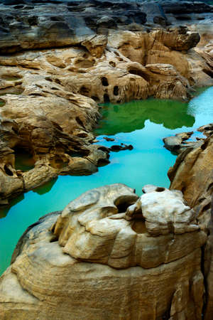 canyon and water hole at sam phan bok on the riverside of the mekong river Thailand