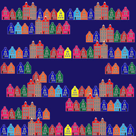 Night cartoon city. Pattern can be used as an infinite background. Vector illustration EPS10 Illustration