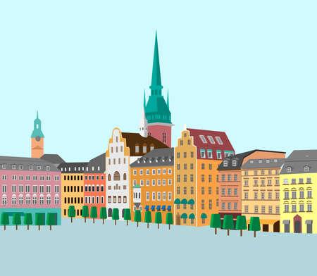 Panoramisch uitzicht op de oude stad. Stockholm, Zweden. Vector illustratie Vector Illustratie
