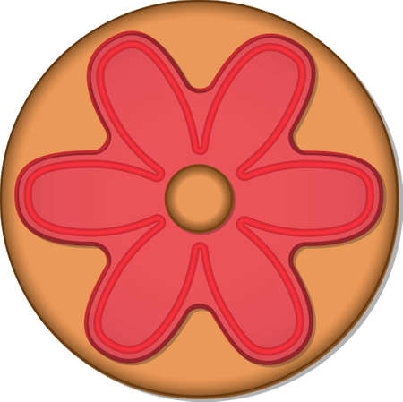 Round ginger cookie with glaze.