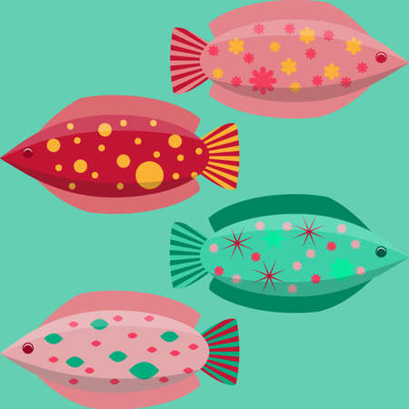 Set of the simple flat fishes decorated by patterns. Vector illustration EPS10