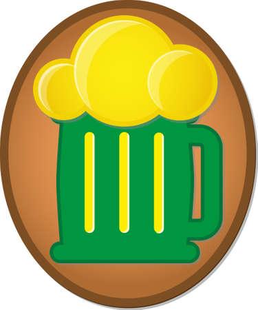 galleta de jengibre: Ginger cookie with Green Beer mug glaze. Symbol of St. Patricks Day. Vector illustration EPS10 on white background