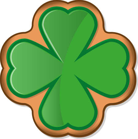 galleta de jengibre: Ginger cookie with shamrock glaze. Symbol of St. Patricks Day. Vector illustration EPS10 on white background
